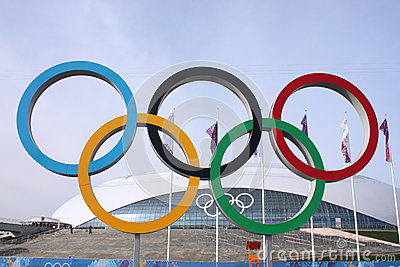 Olympic rings in front of Ice Dome Bolshoy Editorial Stock Photo