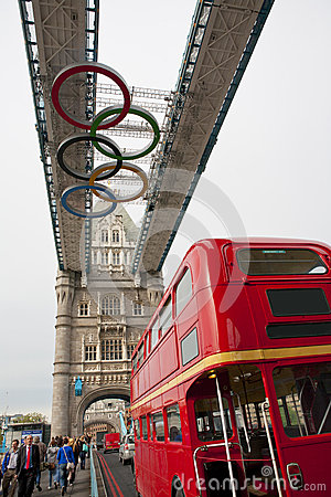 Olympic rings on London Bridge Editorial Image