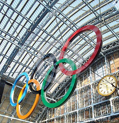 Olympic Rings in London St Pancras Editorial Stock Photo