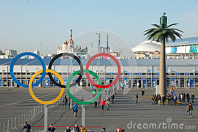 Olympic rings near entrance to park at Sochi 2014 XXII Winter Ol Editorial Image