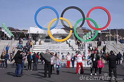Olympic rings near Olympic Park railway station Editorial Photo