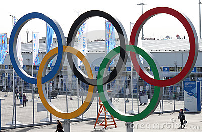 Olympic rings near olympic park Editorial Stock Image