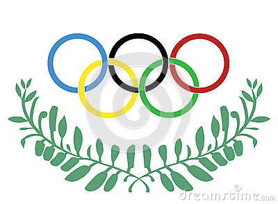 Olympic rings in olive wreath Vector Illustration
