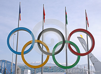 Olympic rings in Olympic park Editorial Photo