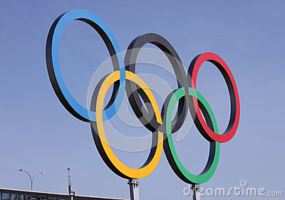 Olympic rings over blue sky Editorial Stock Photo