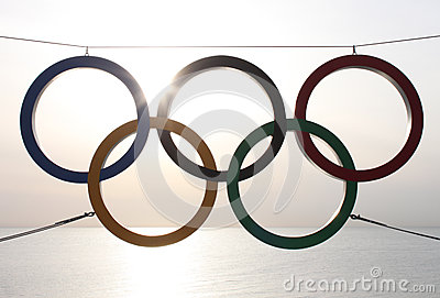 Olympic rings over sea Editorial Photography