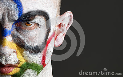 Olympic rings painted in  face man Editorial Photography