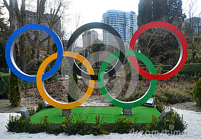 Olympic rings on the square Editorial Image