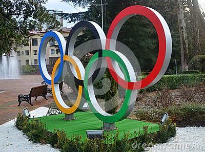 Olympic rings on the square in Sochi Editorial Stock Image
