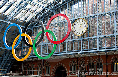 Olympic Rings St Pancras Editorial Stock Photo