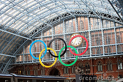 Olympic rings at St Pancras Rail Station Editorial Photography