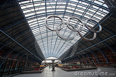 Olympic rings at St Pancras Rail Station Editorial Photo