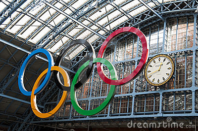 Olympic rings at St Pancras station Editorial Photography