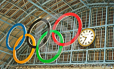 Olympic rings at St Pancras station Editorial Image