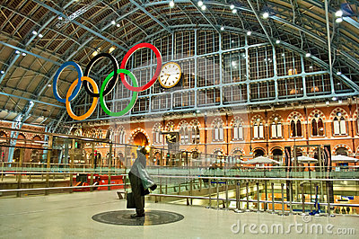 Olympic rings at St Pancras station Editorial Photo