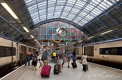 Olympic rings at St Pancras Station, London Editorial Stock Image
