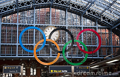 Olympic rings at St Pancras Station, London Editorial Image