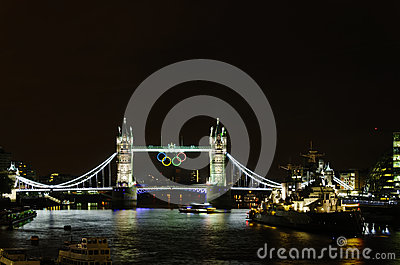 Olympic rings on Tower Bridge Editorial Photography