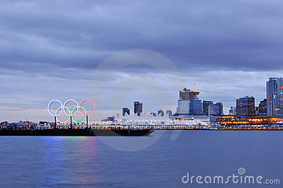 Olympic rings in vancouver harbour Editorial Photography