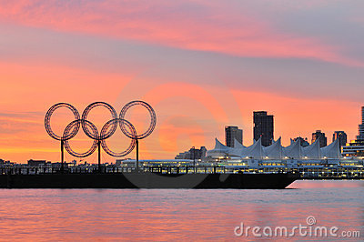 Olympic rings in vancouver harbour Editorial Stock Photo