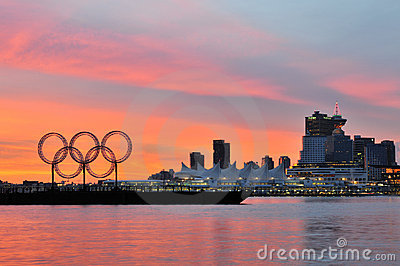 Olympic rings in vancouver harbour Editorial Stock Image