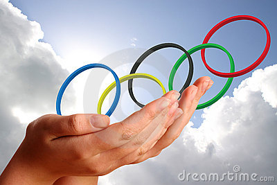 Olympic rings  in young womans hands Editorial Stock Image