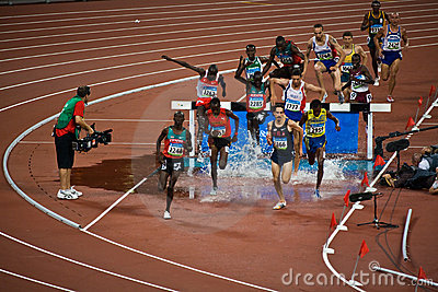 Olympic runners in Men s steeple chase Editorial Photo