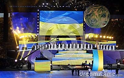 Olympic stadium (NSC Olimpiysky) opening ceremony Editorial Stock Image