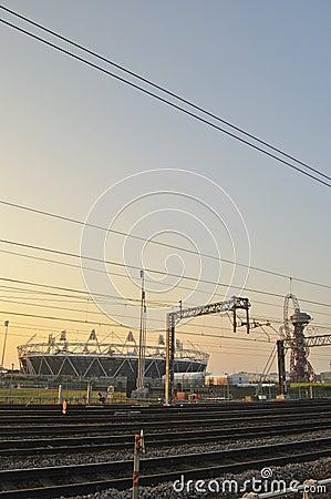 Olympic stadium railway lines Editorial Stock Photo