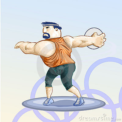 Olympic  toons -  Discus