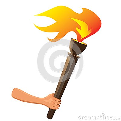 Olympic torch with flame isolated. Vector