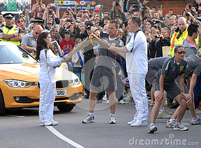Olympic torch kiss Editorial Stock Photo