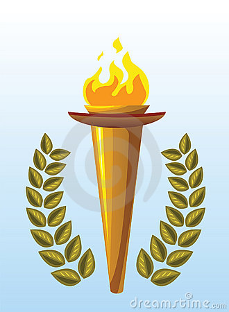Olympic torch and laurel wreath