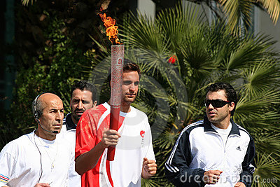 Olympic Torch Relay in Athens Editorial Photography