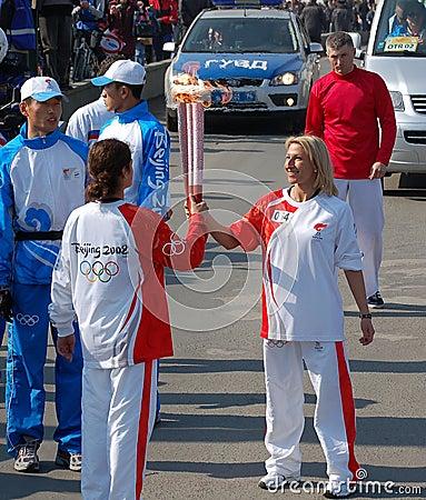 Olympic Torch Relay Oxana Kazakova Editorial Stock Image