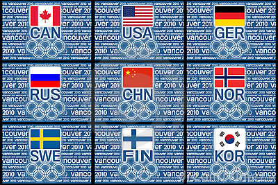 Olympics 2010 flags Editorial Image
