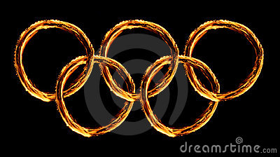 Olympics logo on  fire Editorial Stock Photo