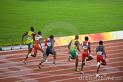 Olympics mens 100-meter sprint Editorial Photo