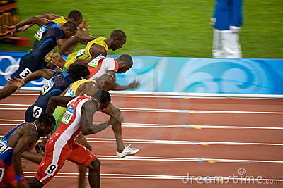 Olympics mens 100-meter sprint Editorial Photography