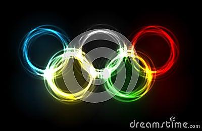 olympische ringen die van plasma worden gemaakt