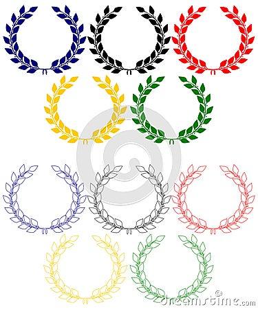Olympische ringen van lauwerkransen
