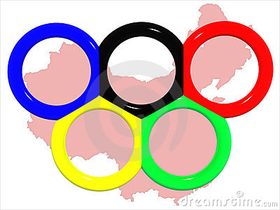 Olympische rings&map van China.