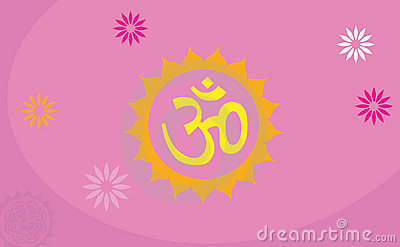 Om decorated with flower