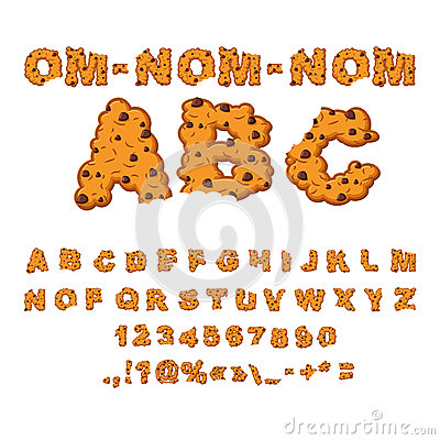 Free Om Nom Nom ABC. Cookies Font. Biscuits With Chocolate  Royalty Free Stock Photo - 78635905