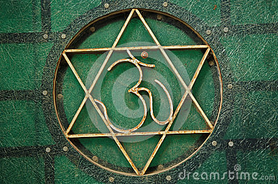 An om and star of david symbol, india