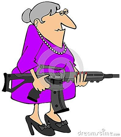 Oma met een aanvalsgeweer
