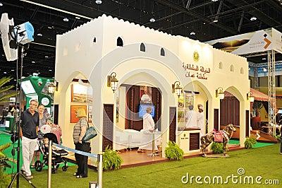 Oman Pavilion at Abu Dhabi International Hunting and Equestrian Exhibition 2013 Editorial Stock Photo