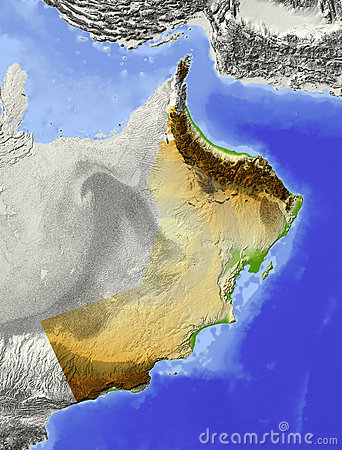 Oman, relief map