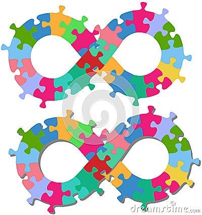 Ombra isolata parti di puzzle di figura di infinità 8