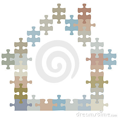 Ome of jigsaw puzzle pieces shape a house